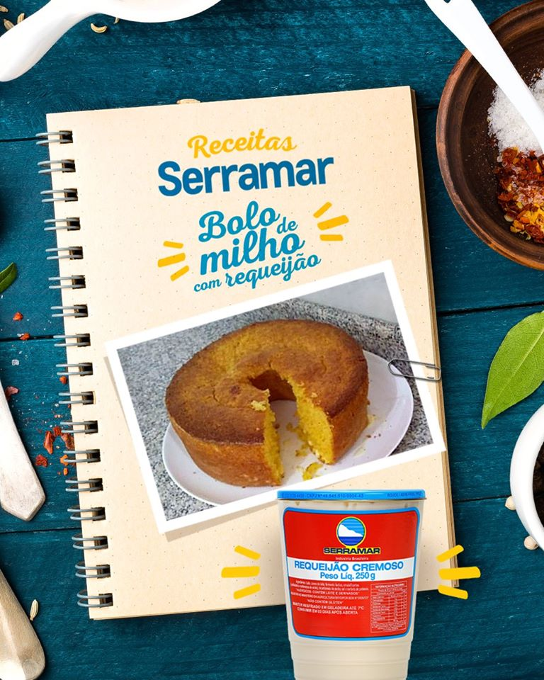 BOLO DE MILHO COM REQUEIJÃO